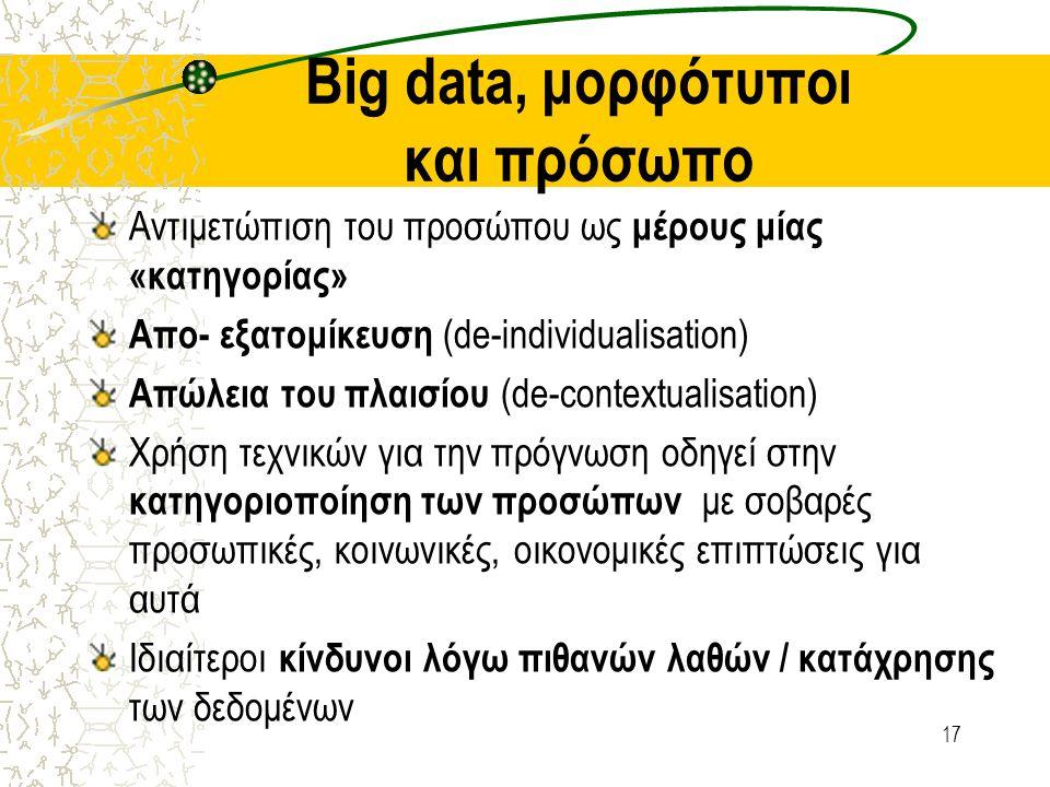 Big data, μορφότυποι και πρόσωπο Αντιμετώπιση του προσώπου ως μέρους μίας «κατηγορίας» Απο- εξατομίκευση (de-individualisation) Απώλεια του πλαισίου (
