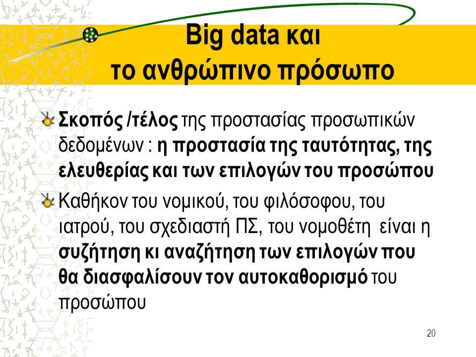 Big data και το ανθρώπινο πρόσωπο Σκοπός /τέλος της προστασίας προσωπικών δεδομένων : η προστασία της ταυτότητας, της ελευθερίας και των επιλογών του