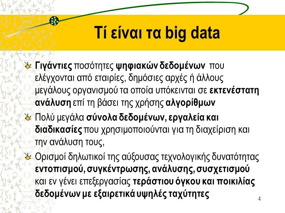 Τί είναι νέο στα big data; Πρωτοφανής –μαζική συλλογή δεδομένων : Ποσοτικό στοιχείο που εξελίσσεται σε ποιοτικό χαρακτηριστικό Πολυπλοκότητα, ποικιλότητα Νέα γενιά τεχνολογιών κι αρχιτεκτονικώ ν που είναι σχεδιασμένη ώστε να εξάγει αξία από μεγάλες ποσότητες δεδομένων Nέες αναλυτικές τεχνικές για να ανακαλυφθούν συσχετισμοί, οι οποίοι δεν είναι ορατοί εύκολα.