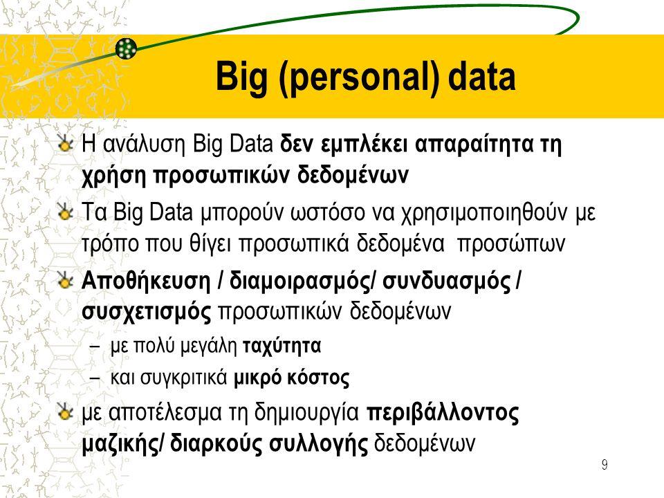 Big (personal) data Η ανάλυση Big Data δεν εμπλέκει απαραίτητα τη χρήση προσωπικών δεδομένων Τα Big Data μπορούν ωστόσο να χρησιμοποιηθούν με τρόπο που θίγει προσωπικά δεδομένα προσώπων Αποθήκευση / διαμοιρασμός/ συνδυασμός / συσχετισμός προσωπικών δεδομένων –με πολύ μεγάλη ταχύτητα –και συγκριτικά μικρό κόστος με αποτέλεσμα τη δημιουργία περιβάλλοντος μαζικής/ διαρκούς συλλογής δεδομένων 9