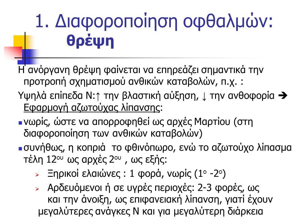 1. Διαφοροποίηση οφθαλμών: θρέψη Η ανόργανη θρέψη φαίνεται να επηρεάζει σημαντικά την προτροπή σχηματισμού ανθικών καταβολών, π.χ. : Υψηλά επίπεδα Ν: