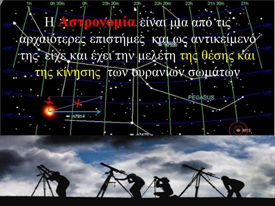 Η Αστρονομία είναι μια από τις αρχαιότερες επιστήμες και ως αντικείμενό της είχε και έχει την μελέτη της θέσης και της κίνησης των ουρανίων σωμάτων