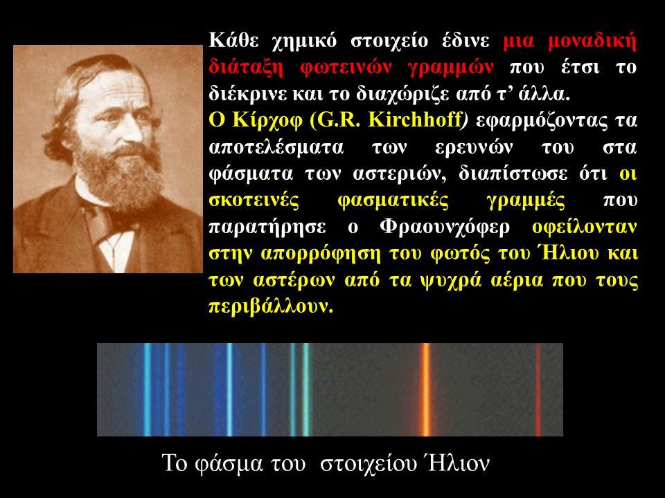 Κάθε χημικό στοιχείο έδινε μια μοναδική διάταξη φωτεινών γραμμών που έτσι το διέκρινε και το διαχώριζε από τ' άλλα. O Kίρχοφ (G.R. Kirchhoff) εφαρμόζο