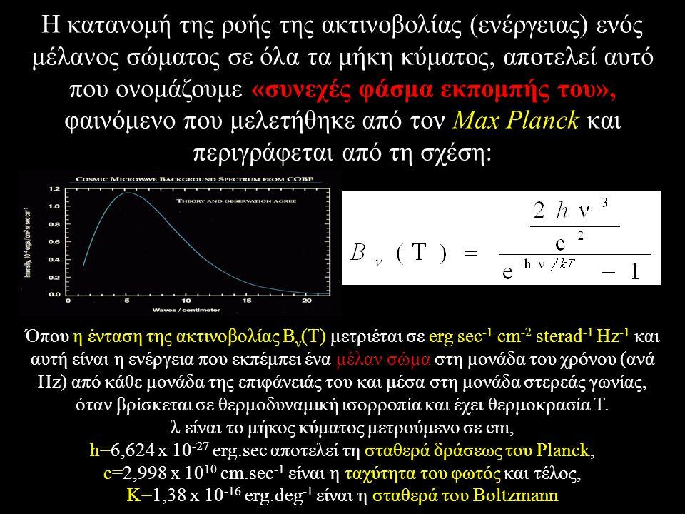 H κατανομή της ροής της ακτινοβολίας (ενέργειας) ενός μέλανος σώματος σε όλα τα μήκη κύματος, αποτελεί αυτό που ονομάζουμε «συνεχές φάσμα εκπομπής του», φαινόμενο που μελετήθηκε από τον Max Planck και περιγράφεται από τη σχέση: Όπου η ένταση της ακτινοβολίας B ν (T) μετριέται σε erg sec -1 cm -2 sterad -1 Hz -1 και αυτή είναι η ενέργεια που εκπέμπει ένα μέλαν σώμα στη μονάδα του χρόνου (ανά Hz) από κάθε μονάδα της επιφάνειάς του και μέσα στη μονάδα στερεάς γωνίας, όταν βρίσκεται σε θερμοδυναμική ισορροπία και έχει θερμοκρασία T.