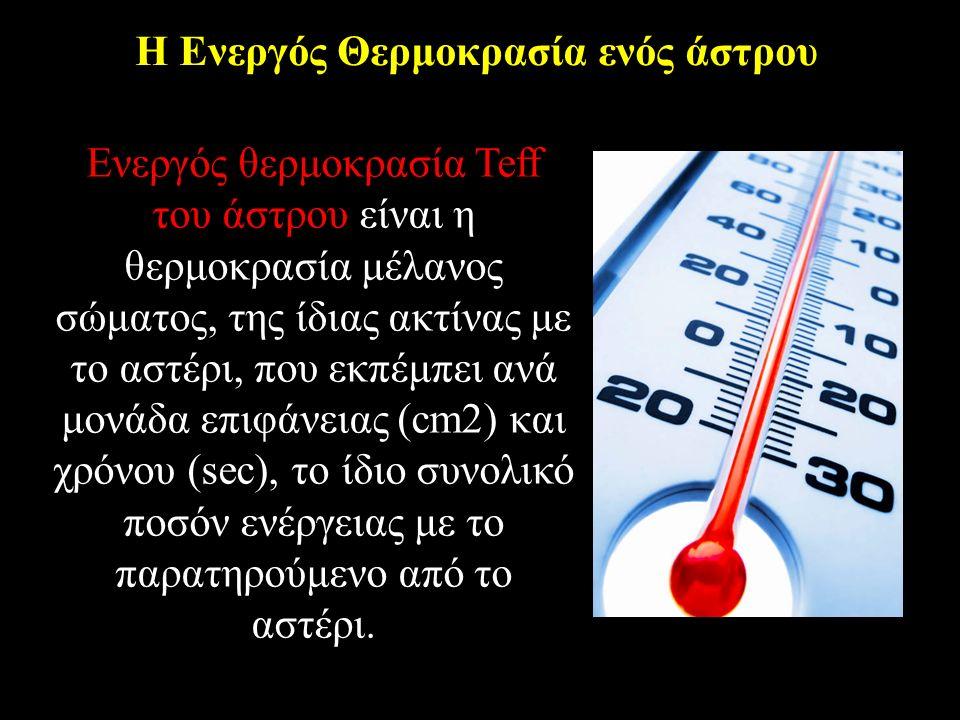 H Ενεργός Θερμοκρασία ενός άστρου Ενεργός θερμοκρασία Teff του άστρου είναι η θερμοκρασία μέλανος σώματος, της ίδιας ακτίνας με το αστέρι, που εκπέμπει ανά μονάδα επιφάνειας (cm2) και χρόνου (sec), το ίδιο συνολικό ποσόν ενέργειας με το παρατηρούμενο από το αστέρι.