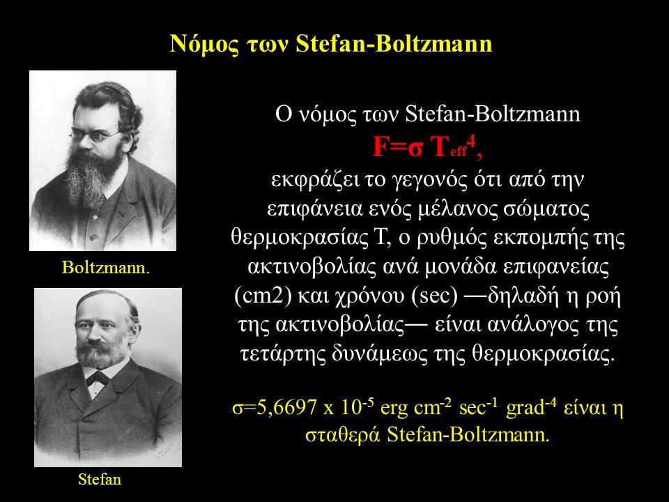 Nόμος των Stefan-Boltzmann O νόμος των Stefan-Boltzmann F=σ T eff 4, εκφράζει το γεγονός ότι από την επιφάνεια ενός μέλανος σώματος θερμοκρασίας T, ο ρυθμός εκπομπής της ακτινοβολίας ανά μονάδα επιφανείας (cm2) και χρόνου (sec) ―δηλαδή η ροή της ακτινοβολίας― είναι ανάλογος της τετάρτης δυνάμεως της θερμοκρασίας.