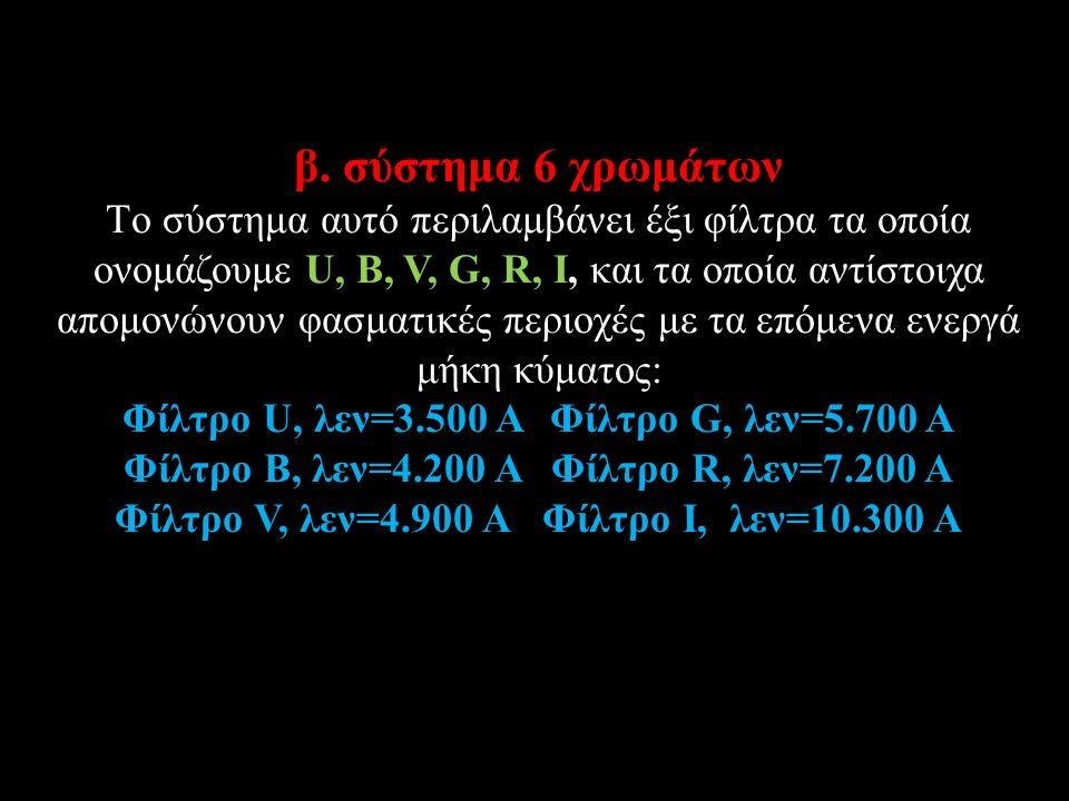 β. σύστημα 6 χρωμάτων Tο σύστημα αυτό περιλαμβάνει έξι φίλτρα τα οποία ονομάζουμε U, B, V, G, R, I, και τα οποία αντίστοιχα απομονώνουν φασματικές περ