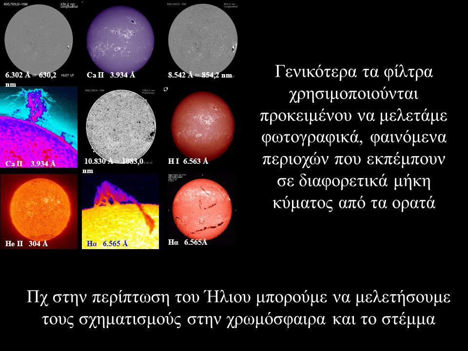 Ηe II 304 Å Ca II 3.934 Å Hα 6.565 Å Η Ι 6.563 Å Ca IΙ 3.934 Å 6.302 Å = 630,2 nm 8.542 Å = 854,2 nm 10.830 Å = 1083,0 nm Hα 6.565Å Γενικότερα τα φίλτρα χρησιμοποιούνται προκειμένου να μελετάμε φωτογραφικά, φαινόμενα περιοχών που εκπέμπουν σε διαφορετικά μήκη κύματος από τα ορατά Πχ στην περίπτωση του Ήλιου μπορούμε να μελετήσουμε τους σχηματισμούς στην χρωμόσφαιρα και το στέμμα