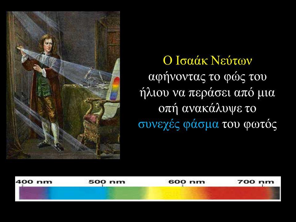 Ο Ισαάκ Νεύτων αφήνοντας το φώς του ήλιου να περάσει από μια οπή ανακάλυψε το συνεχές φάσμα του φωτός