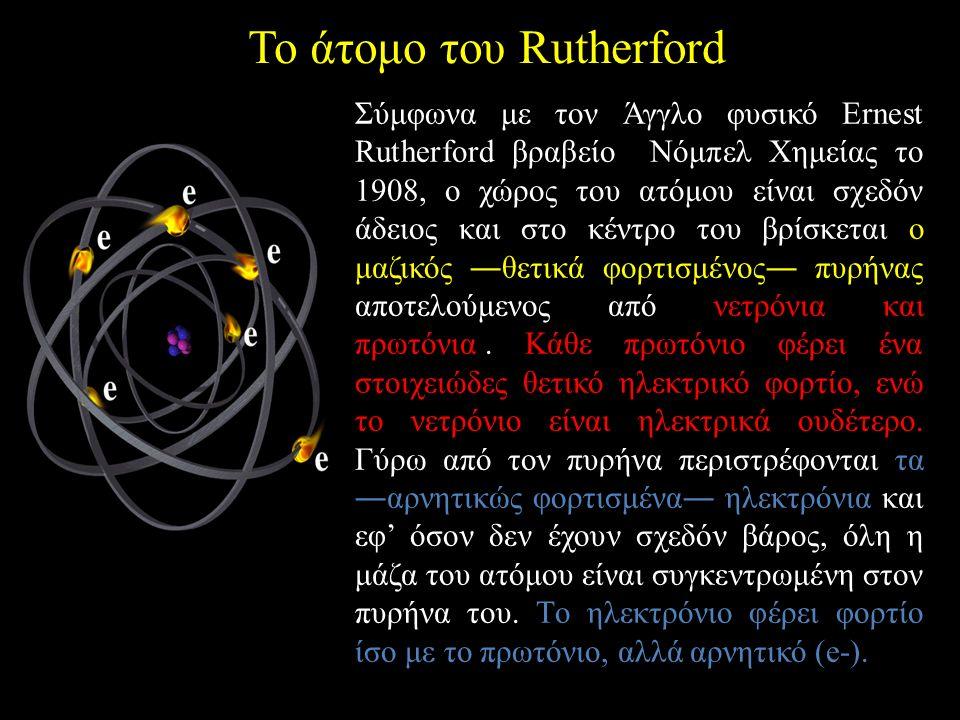 Το άτομο του Rutherford Σύμφωνα με τον Άγγλο φυσικό Ernest Rutherford βραβείο Nόμπελ Xημείας το 1908, ο χώρος του ατόμου είναι σχεδόν άδειος και στο κέντρο του βρίσκεται ο μαζικός ―θετικά φορτισμένος― πυρήνας αποτελούμενος από νετρόνια και πρωτόνια..