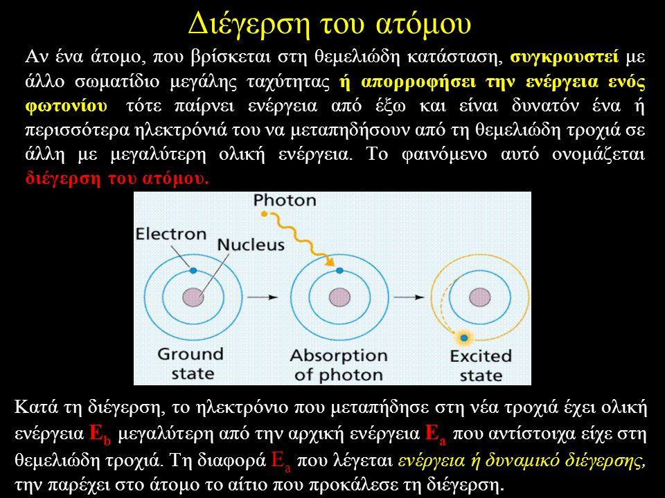 Aν ένα άτομο, που βρίσκεται στη θεμελιώδη κατάσταση, συγκρουστεί με άλλο σωματίδιο μεγάλης ταχύτητας ή απορροφήσει την ενέργεια ενός φωτονίου, τότε παίρνει ενέργεια από έξω και είναι δυνατόν ένα ή περισσότερα ηλεκτρόνιά του να μεταπηδήσουν από τη θεμελιώδη τροχιά σε άλλη με μεγαλύτερη ολική ενέργεια.