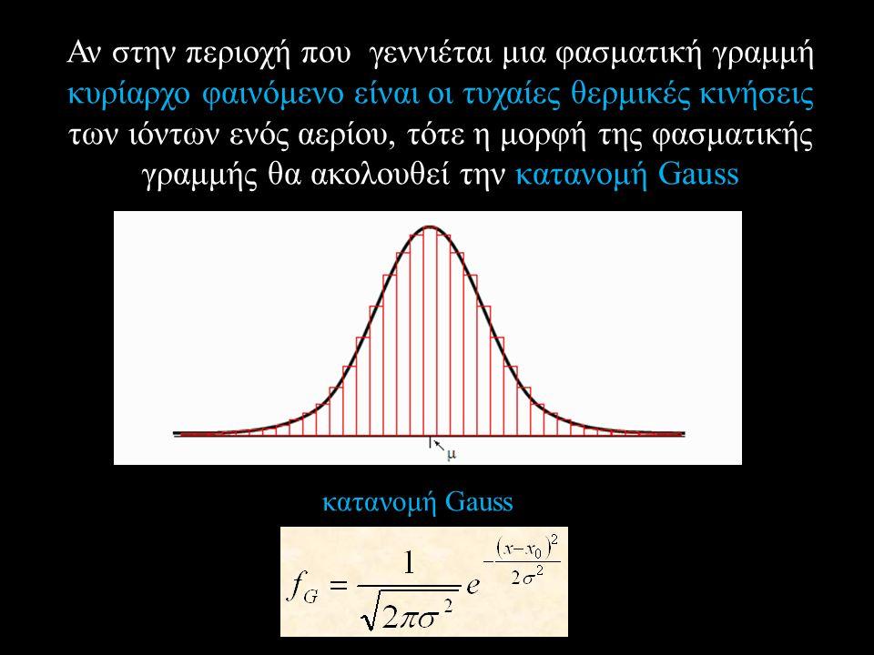 Αν στην περιοχή που γεννιέται μια φασματική γραμμή κυρίαρχο φαινόμενο είναι οι τυχαίες θερμικές κινήσεις των ιόντων ενός αερίου, τότε η μορφή της φασματικής γραμμής θα ακολουθεί την κατανομή Gauss κατανομή Gauss