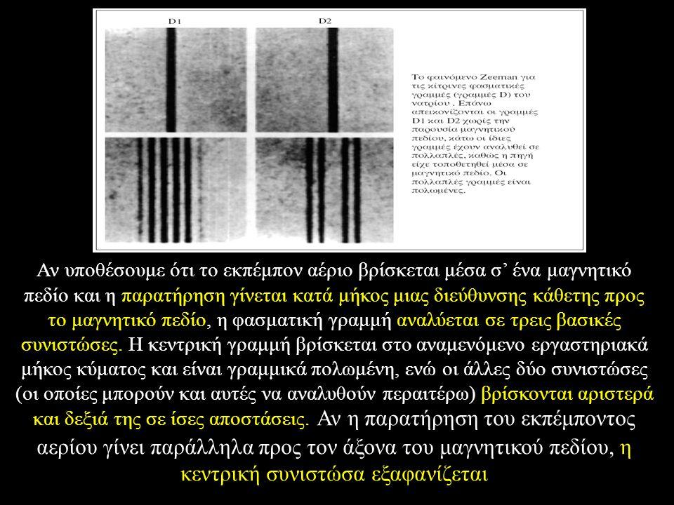 Αν υποθέσουμε ότι το εκπέμπον αέριο βρίσκεται μέσα σ' ένα μαγνητικό πεδίο και η παρατήρηση γίνεται κατά μήκος μιας διεύθυνσης κάθετης προς το μαγνητικό πεδίο, η φασματική γραμμή αναλύεται σε τρεις βασικές συνιστώσες.