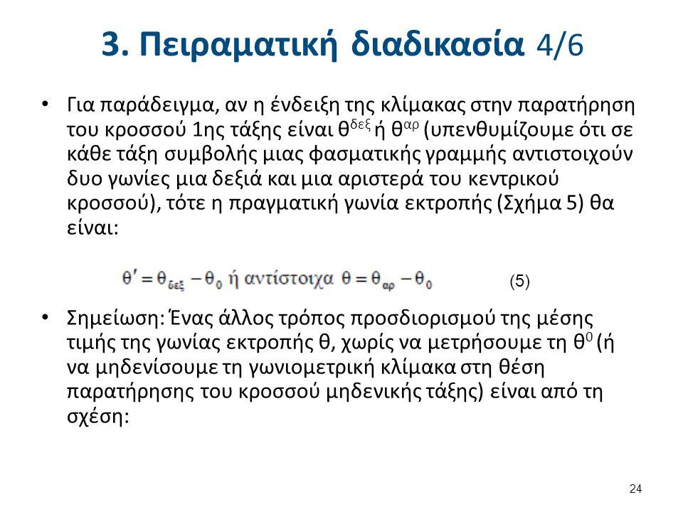 3. Πειραματική διαδικασία 4/6 Για παράδειγμα, αν η ένδειξη της κλίμακας στην παρατήρηση του κροσσού 1ης τάξης είναι θ δεξ ή θ αρ (υπενθυμίζουμε ότι σε