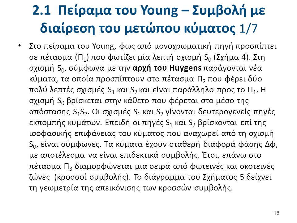 2.1 Πείραμα του Young – Συμβολή με διαίρεση του μετώπου κύματος 1/7 Στο πείραμα του Young, φως από μονοχρωματική πηγή προσπίπτει σε πέτασμα (Π 1 ) που φωτίζει μία λεπτή σχισμή S 0 (Σχήμα 4).