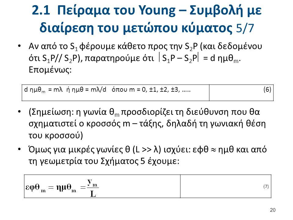 2.1 Πείραμα του Young – Συμβολή με διαίρεση του μετώπου κύματος 5/7 Αν από το S 1 φέρουμε κάθετο προς την S 2 P (και δεδομένου ότι S 1 P// S 2 P), παρατηρούμε ότι  S 1 P – S 2 P  = d ημθ m.