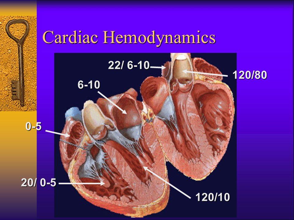 Cardiac Hemodynamics 0-5 20/ 0-5 6-10 22/ 6-10 120/10 120/80