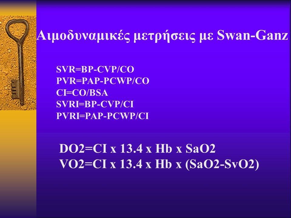 Αιμοδυναμικές μετρήσεις με Swan-Ganz SVR=BP-CVP/CO PVR=PAP-PCWP/CO CI=CO/BSA SVRI=BP-CVP/CI PVRI=PAP-PCWP/CI DO2=CI x 13.4 x Hb x SaO2 VO2=CI x 13.4 x