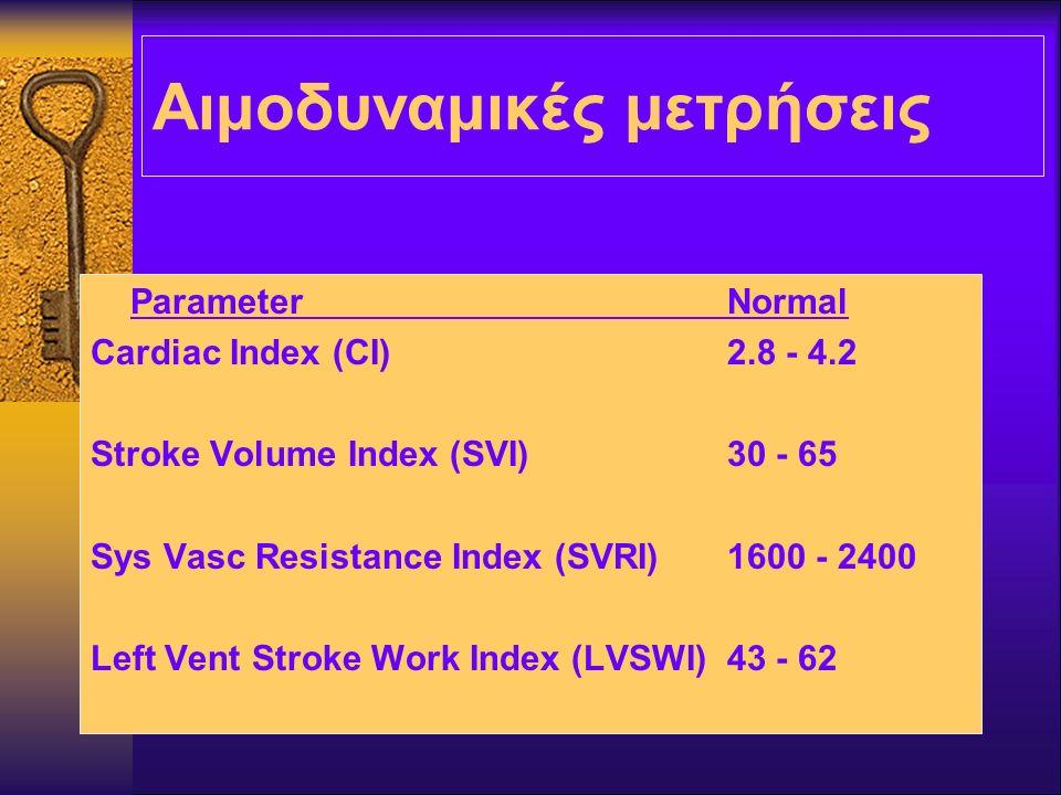 Αιμοδυναμικές μετρήσεις ParameterNormal Cardiac Index (CI)2.8 - 4.2 Stroke Volume Index (SVI)30 - 65 Sys Vasc Resistance Index (SVRI)1600 - 2400 Left