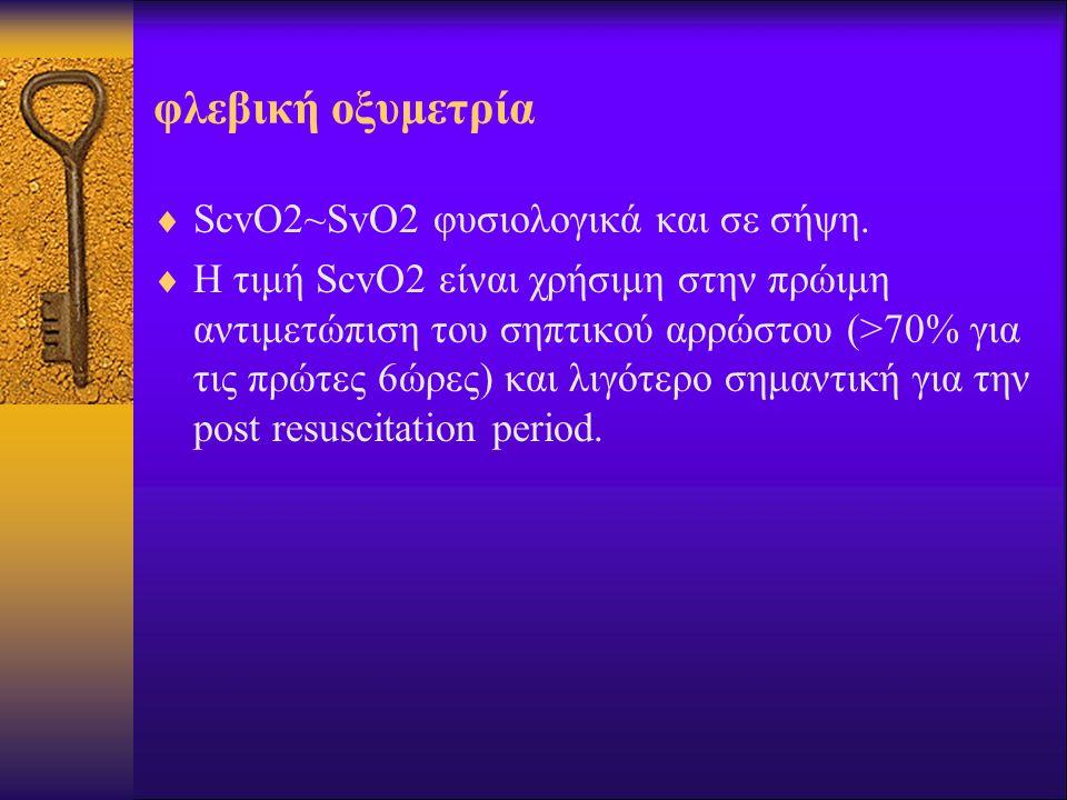 φλεβική οξυμετρία  ScvO2~SvO2 φυσιολογικά και σε σήψη.  Η τιμή ScvO2 είναι χρήσιμη στην πρώιμη αντιμετώπιση του σηπτικού αρρώστου (>70% για τις πρώτ