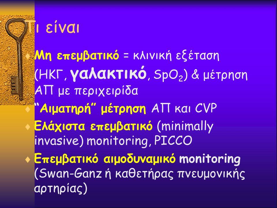 """Τι είναι  Μη επεμβατικό = κλινική εξέταση (ΗΚΓ, γαλακτικό, SpO 2 ) & μέτρηση ΑΠ με περιχειρίδα  """"Αιματηρή"""" μέτρηση ΑΠ και CVP  Ελάχιστα επεμβατικό"""