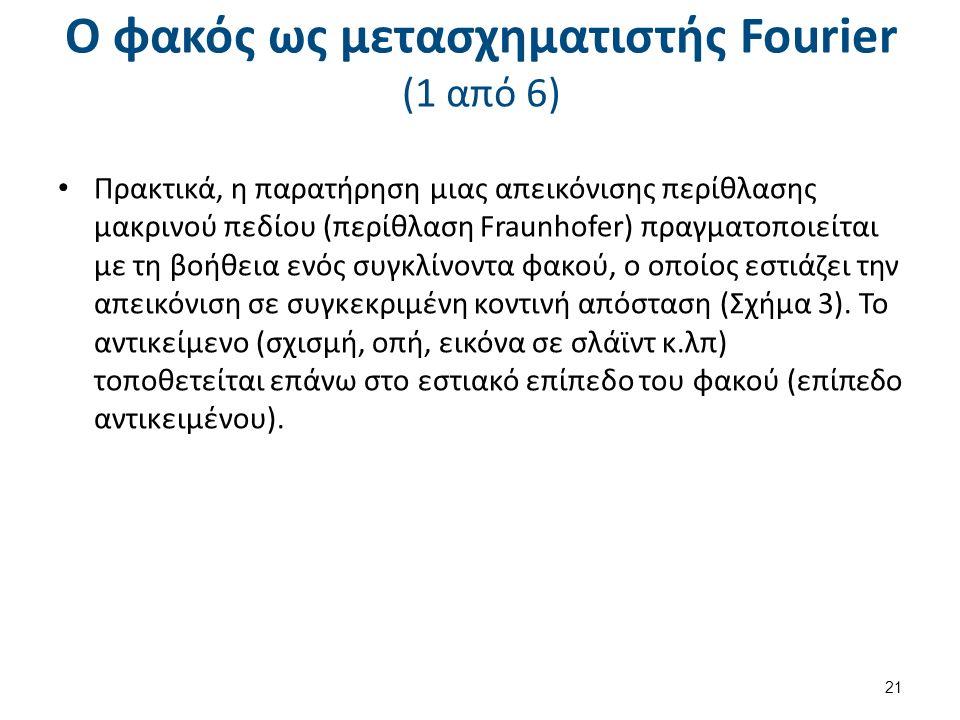 Ο φακός ως μετασχηματιστής Fourier (1 από 6) Πρακτικά, η παρατήρηση μιας απεικόνισης περίθλασης μακρινού πεδίου (περίθλαση Fraunhofer) πραγματοποιείται με τη βοήθεια ενός συγκλίνοντα φακού, ο οποίος εστιάζει την απεικόνιση σε συγκεκριμένη κοντινή απόσταση (Σχήμα 3).