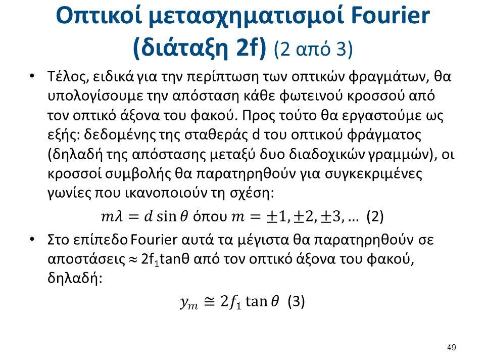 Οπτικοί μετασχηματισμοί Fourier (διάταξη 2f) (2 από 3) 49