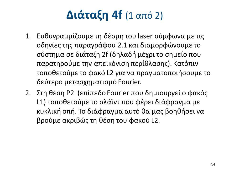 Διάταξη 4f (1 από 2) 1.Ευθυγραμμίζουμε τη δέσμη του laser σύμφωνα με τις οδηγίες της παραγράφου 2.1 και διαμορφώνουμε το σύστημα σε διάταξη 2f (δηλαδή μέχρι το σημείο που παρατηρούμε την απεικόνιση περίθλασης).