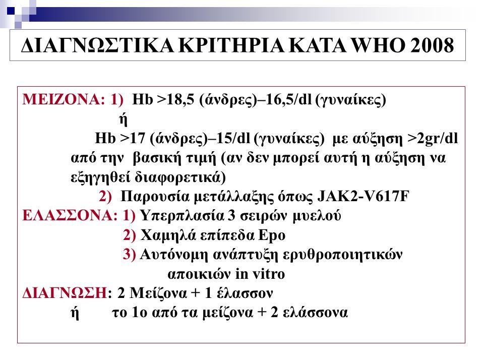 ΔΙΑΓΝΩΣΤΙΚΑ ΚΡΙΤΗΡΙΑ ΚΑΤΑ WHO 2008 ΜΕΙΖΟΝΑ: 1) Hb >18,5 (άνδρες)–16,5/dl (γυναίκες) ή Hb >17 (άνδρες)–15/dl (γυναίκες) με αύξηση >2gr/dl από την βασική τιμή (αν δεν μπορεί αυτή η αύξηση να εξηγηθεί διαφορετικά) 2) Παρουσία μετάλλαξης όπως JAK2-V617F ΕΛΑΣΣΟΝΑ: 1) Υπερπλασία 3 σειρών μυελού 2) Χαμηλά επίπεδα Epo 3) Αυτόνομη ανάπτυξη ερυθροποιητικών αποικιών in vitro ΔΙΑΓΝΩΣΗ: 2 Μείζονα + 1 έλασσον ή το 1ο από τα μείζονα + 2 ελάσσονα