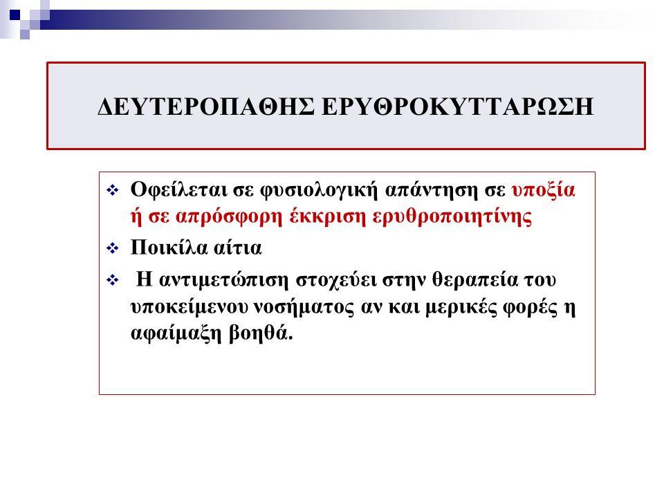 ΘΕΡΑΠΕΙΑ ΠΡΩΤΟΠΑΘΟΥΣ ΠΟΛΥΕΡΥΘΡΑΙΜΙΑΣ Αφαιμάξεις (Ht<45%) Ασπιρίνη (80-250mg/dl)- αναστολή αιμοπεταλιακής λειτουργίας Κυτταροστατικά φάρμακα με σκοπό της καταστολή της ερυθροποίησης Υδροξυουρία Βουσουλφάνη, ραδιενεργός φωσφόρος (παλιότερα σε ηλικιωμένους) Ιντερφερόνη α Έλεγχος συμπτωμάτων όπως ο κνησμός με αντιισταμινικά, της υπερουριχαιμίας με αλλοπουρινόλη Έλεγχος της κόπωσης με ελαφρά άσκηση