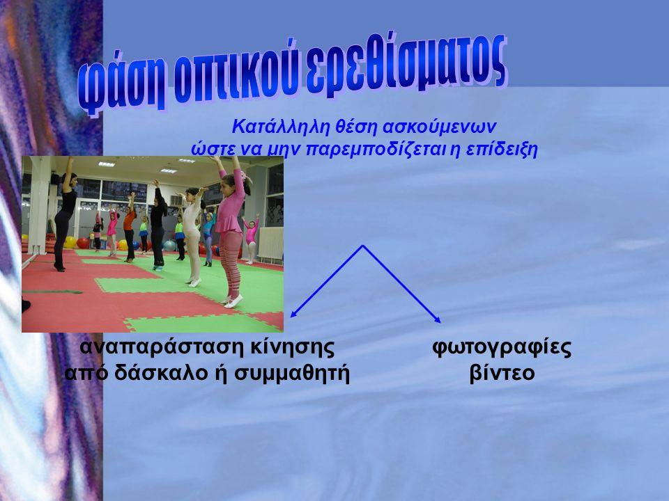 Κατάλληλη θέση ασκούμενων ώστε να μην παρεμποδίζεται η επίδειξη αναπαράσταση κίνησης από δάσκαλο ή συμμαθητή φωτογραφίες βίντεο