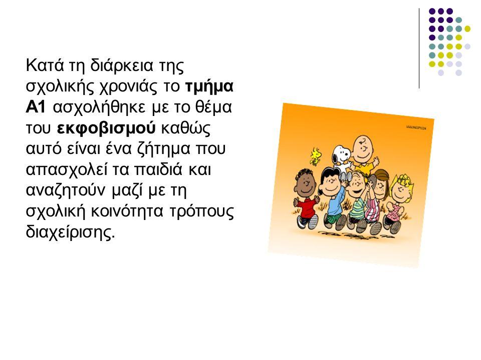 Κατά τη διάρκεια της σχολικής χρονιάς το τμήμα Α1 ασχολήθηκε με το θέμα του εκφοβισμού καθώς αυτό είναι ένα ζήτημα που απασχολεί τα παιδιά και αναζητούν μαζί με τη σχολική κοινότητα τρόπους διαχείρισης.