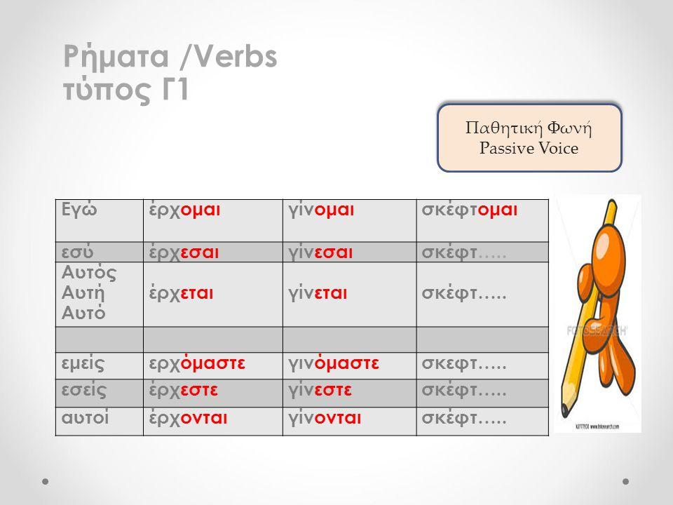 Ρήματα /Verbs τύπος Γ1 Εγώέρχομαιγίνομαισκέφτομαι εσύέρχεσαιγίνεσαισκέφτ…..