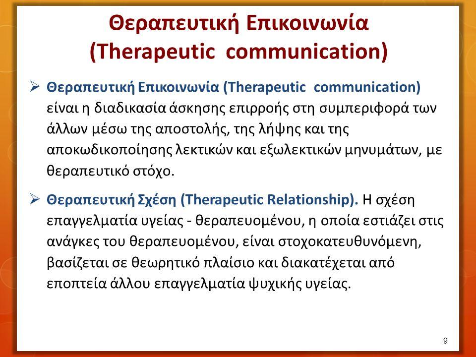 Θεραπευτική Επικοινωνία (Therapeutic communication)  Θεραπευτική Επικοινωνία (Therapeutic communication) είναι η διαδικασία άσκησης επιρροής στη συμπεριφορά των άλλων μέσω της αποστολής, της λήψης και της αποκωδικοποίησης λεκτικών και εξωλεκτικών μηνυμάτων, με θεραπευτικό στόχο.