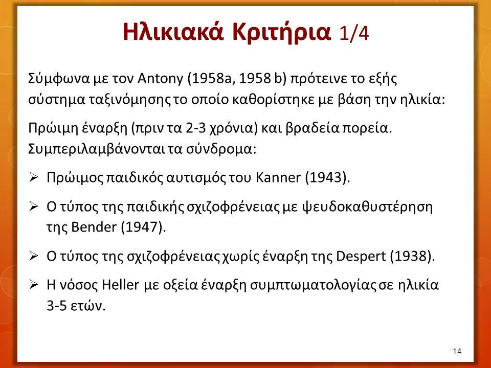 Σύμφωνα με τον Antony (1958a, 1958 b) πρότεινε το εξής σύστημα ταξινόμησης το οποίο καθορίστηκε με βάση την ηλικία: Πρώιμη έναρξη (πριν τα 2-3 χρόνια) και βραδεία πορεία.