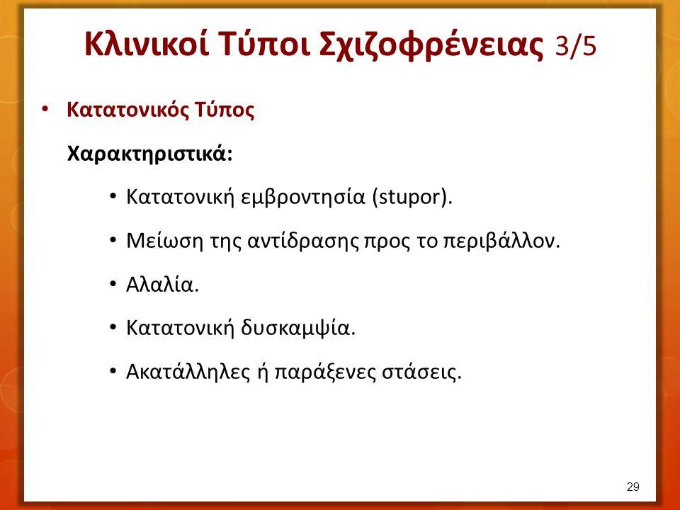 Κλινικοί Τύποι Σχιζοφρένειας 3/5 Κατατονικός Τύπος Χαρακτηριστικά: Κατατονική εμβροντησία (stupor).