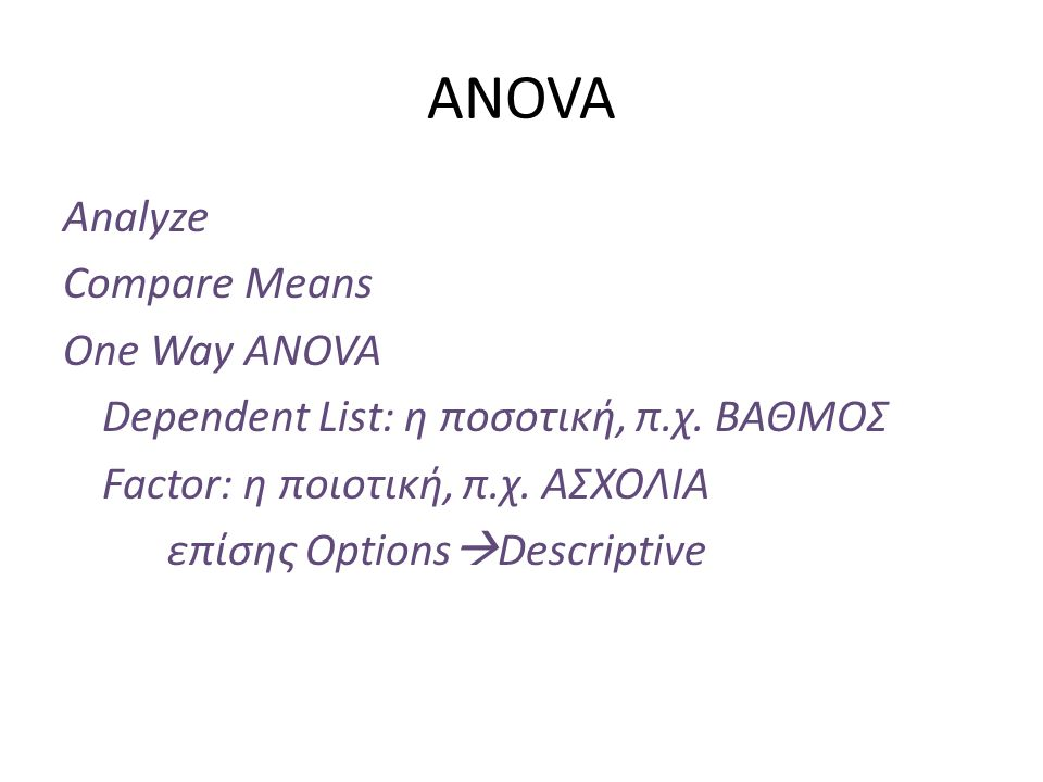 ANOVA Analyze Compare Means One Way ANOVA Dependent List: η ποσοτική, π.χ.