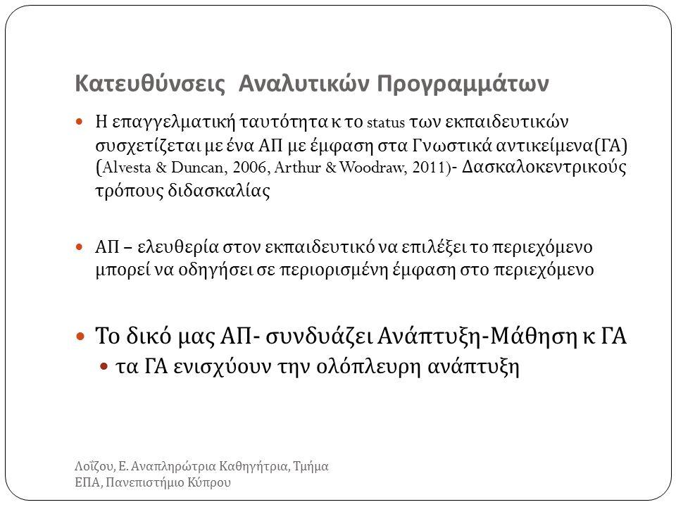 Κατευθύνσεις Αναλυτικών Προγραμμάτων Η επαγγελματική ταυτότητα κ το status των εκπαιδευτικών συσχετίζεται με ένα ΑΠ με έμφαση στα Γνωστικά αντικείμενα ( ΓΑ ) (Alvesta & Duncan, 2006, Arthur & Woodraw, 2011)- Δασκαλοκεντρικούς τρόπους διδασκαλίας ΑΠ – ελευθερία στον εκπαιδευτικό να επιλέξει το περιεχόμενο μπορεί να οδηγήσει σε περιορισμένη έμφαση στο περιεχόμενο Το δικό μας ΑΠ - συνδυάζει Ανάπτυξη - Μάθηση κ ΓΑ τα ΓΑ ενισχύουν την ολόπλευρη ανάπτυξη Λοΐζου, Ε.