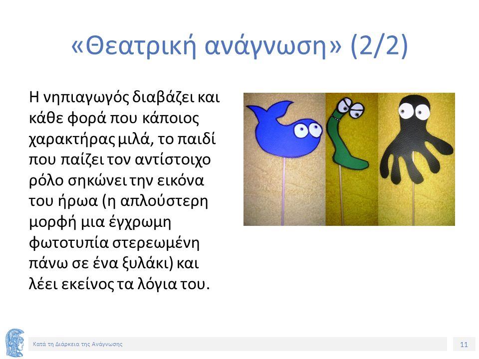 11 Κατά τη Διάρκεια της Ανάγνωσης «Θεατρική ανάγνωση» (2/2) Η νηπιαγωγός διαβάζει και κάθε φορά που κάποιος χαρακτήρας μιλά, το παιδί που παίζει τον αντίστοιχο ρόλο σηκώνει την εικόνα του ήρωα (η απλούστερη μορφή μια έγχρωμη φωτοτυπία στερεωμένη πάνω σε ένα ξυλάκι) και λέει εκείνος τα λόγια του.