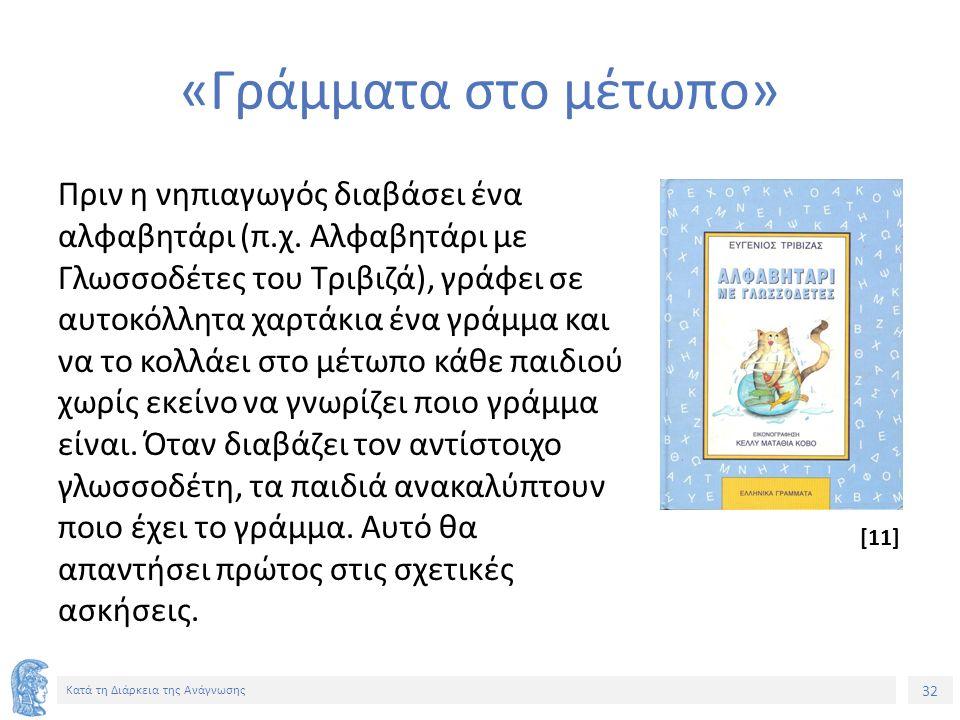 32 Κατά τη Διάρκεια της Ανάγνωσης «Γράμματα στο μέτωπο» Πριν η νηπιαγωγός διαβάσει ένα αλφαβητάρι (π.χ.