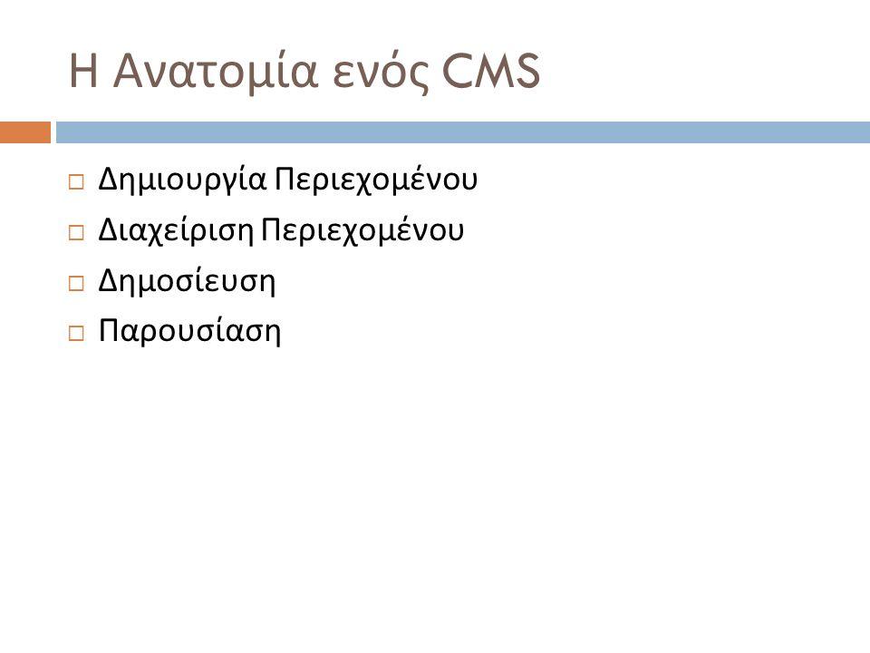 Η Ανατομία ενός CMS  Δημιουργία Περιεχομένου  Διαχείριση Περιεχομένου  Δημοσίευση  Παρουσίαση