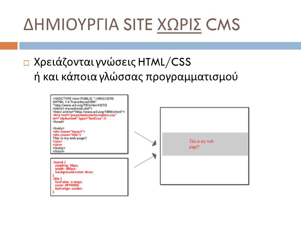  Χρειάζονται γνώσεις HTML/CSS ή και κάποια γλώσσας προγραμματισμού
