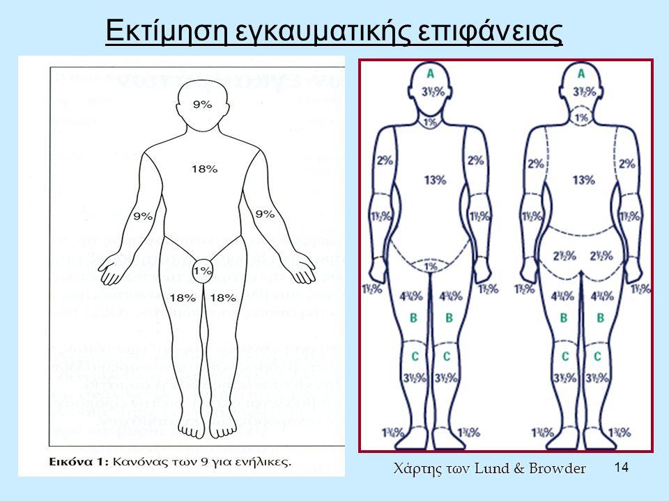 14 Εκτίμηση εγκαυματικής επιφάνειας Χάρτης των Lund & Browder
