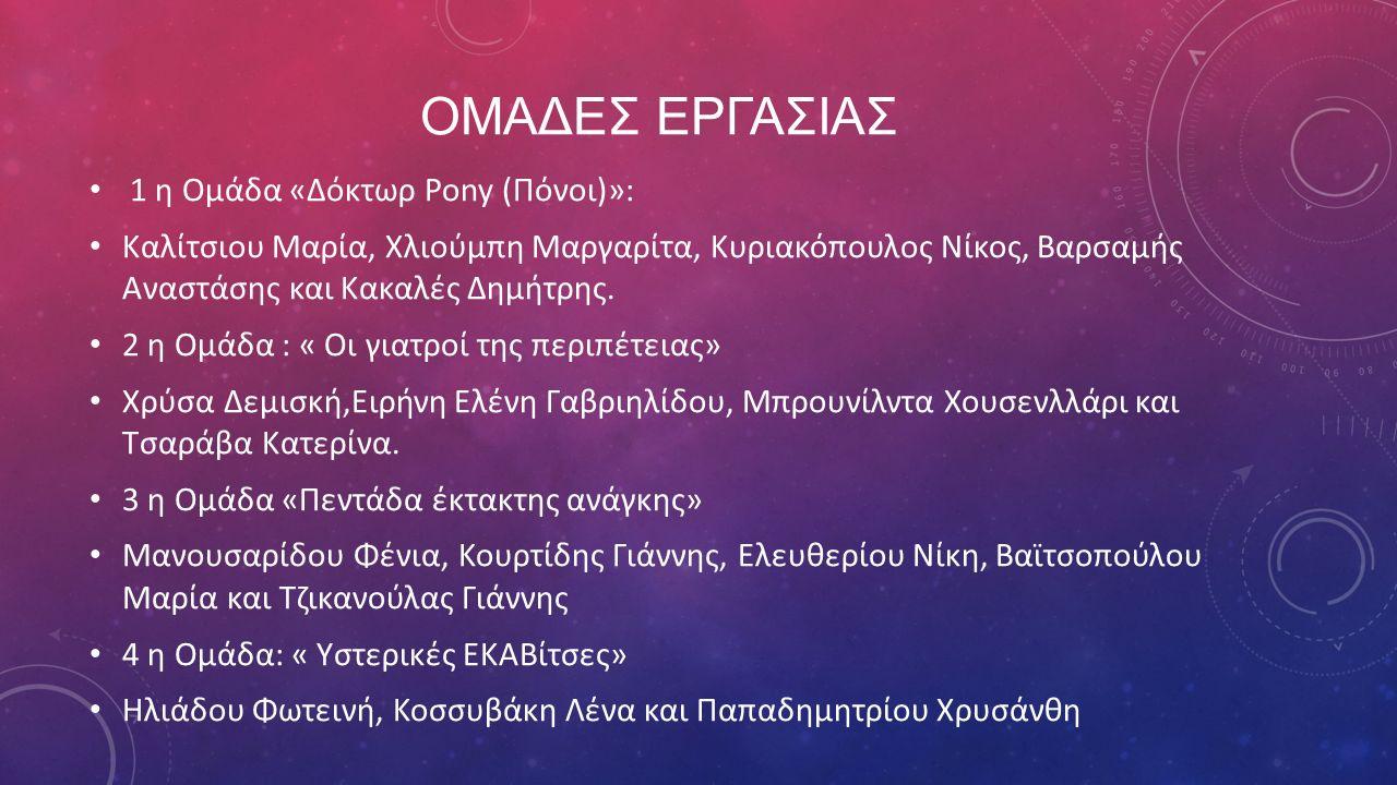 ΟΜΑΔΕΣ ΕΡΓΑΣΙΑΣ 1 η Ομάδα «Δόκτωρ Pony (Πόνοι)»: Καλίτσιου Μαρία, Χλιούμπη Μαργαρίτα, Κυριακόπουλος Νίκος, Βαρσαμής Αναστάσης και Κακαλές Δημήτρης. 2