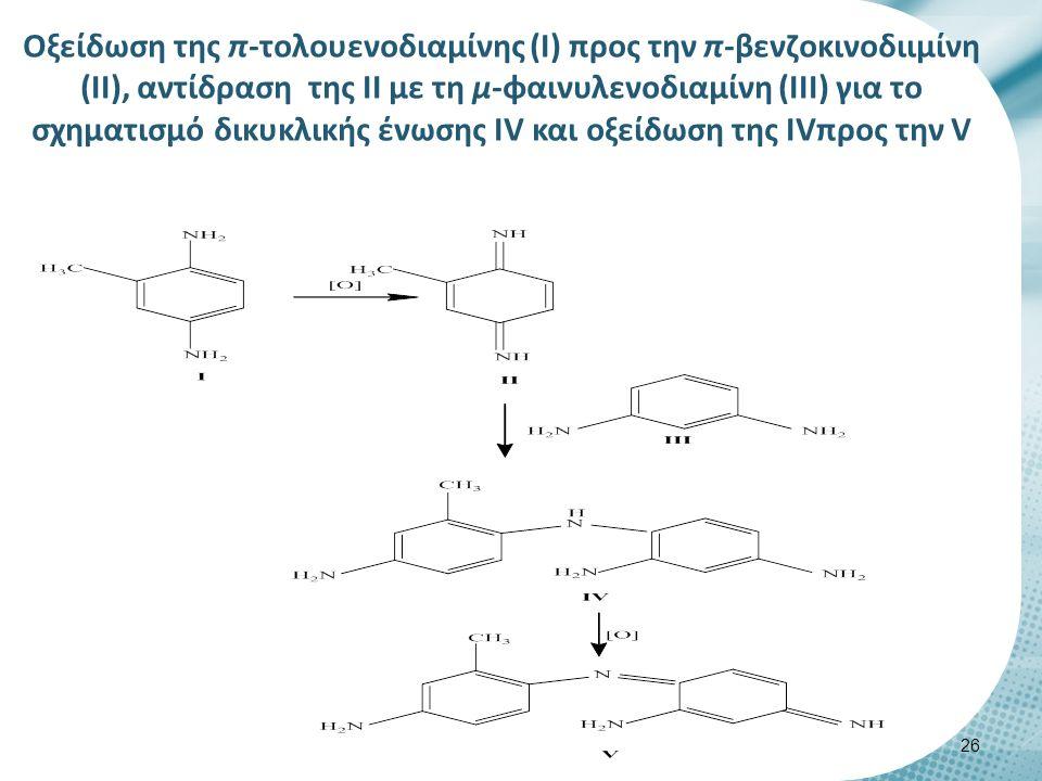 Οξείδωση της π-τολουενοδιαμίνης (Ι) προς την π-βενζοκινοδιιμίνη (ΙΙ), αντίδραση της ΙΙ με τη μ-φαινυλενοδιαμίνη (ΙΙΙ) για το σχηματισμό δικυκλικής ένωσης ΙV και οξείδωση της IVπρος την V 26