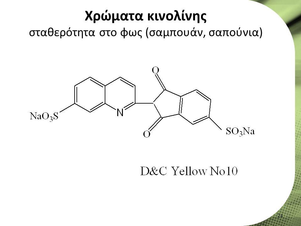 Χρώματα κινολίνης σταθερότητα στο φως (σαμπουάν, σαπούνια) 24