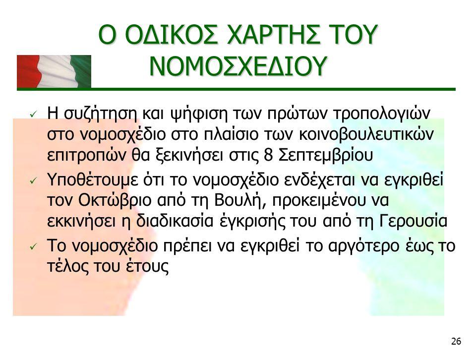 26 Ο ΟΔΙΚΟΣ ΧΑΡΤΗΣ ΤΟΥ ΝΟΜΟΣΧΕΔΙΟΥ Η συζήτηση και ψήφιση των πρώτων τροπολογιών στο νομοσχέδιο στο πλαίσιο των κοινοβουλευτικών επιτροπών θα ξεκινήσει στις 8 Σεπτεμβρίου Υποθέτουμε ότι το νομοσχέδιο ενδέχεται να εγκριθεί τον Οκτώβριο από τη Βουλή, προκειμένου να εκκινήσει η διαδικασία έγκρισής του από τη Γερουσία Το νομοσχέδιο πρέπει να εγκριθεί το αργότερο έως το τέλος του έτους