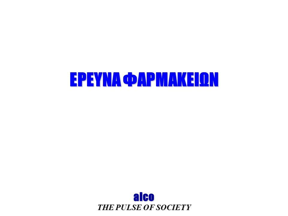 ΕΡΕΥΝΑ ΦΑΡΜΑΚΕΙΩΝ alco THE PULSE OF SOCIETY
