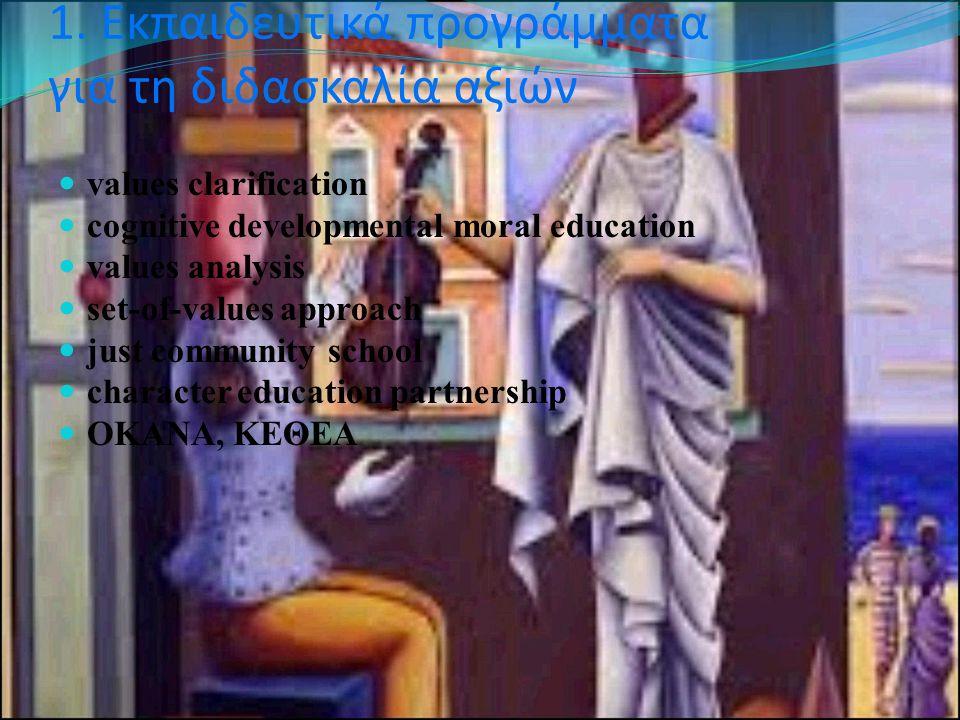 1. Εκπαιδευτικά προγράμματα για τη διδασκαλία αξιών values clarification cognitive developmental moral education values analysis set-of-values approac
