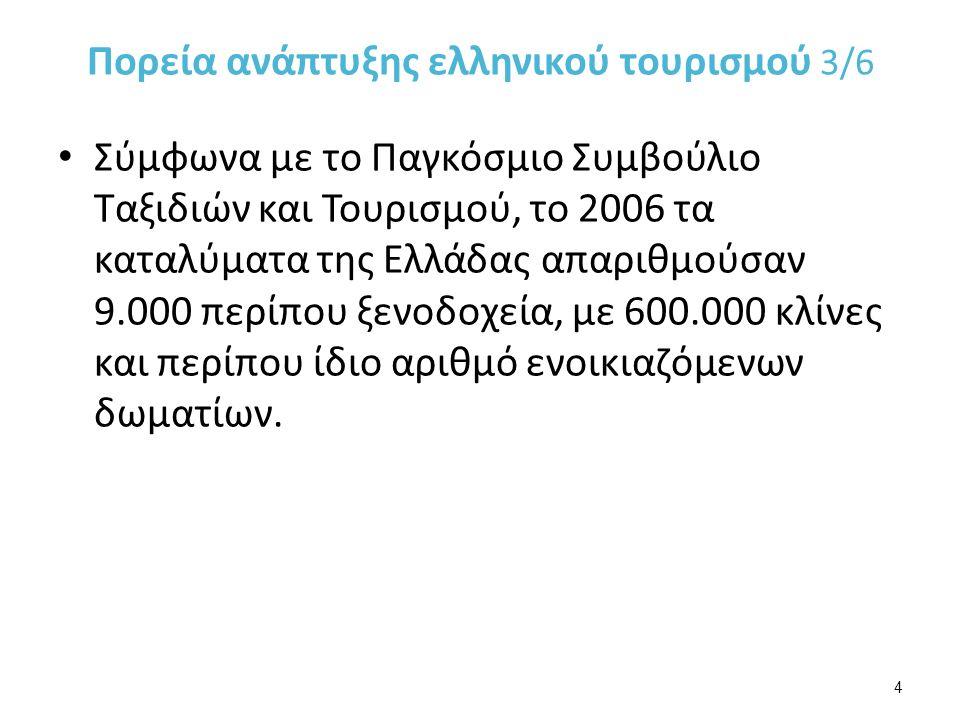 Σύμφωνα με το Παγκόσμιο Συμβούλιο Ταξιδιών και Τουρισμού, το 2006 τα καταλύματα της Ελλάδας απαριθμούσαν 9.000 περίπου ξενοδοχεία, με 600.000 κλίνες και περίπου ίδιο αριθμό ενοικιαζόμενων δωματίων.